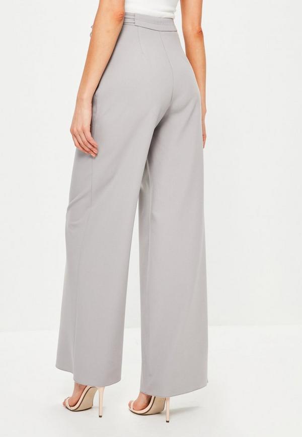 Grey Tie Side Wide Leg Pants | Missguided