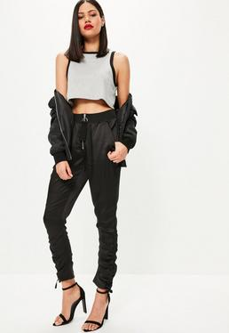Black Ring Detail Zip Ruched Ankle Joggers