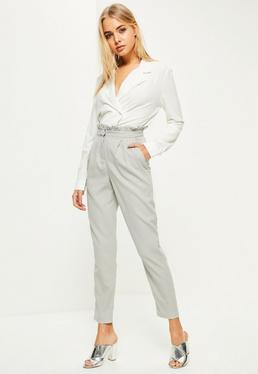 Grey Paperbag Waist Cigarette Pants
