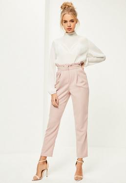 Pantalon rose cigarette à taille plissée