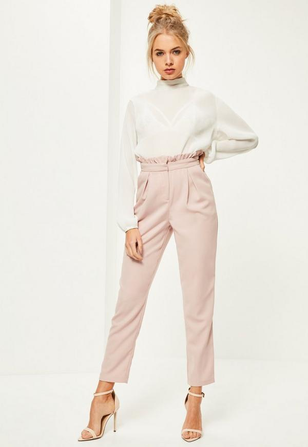Pink Paperbag Waist Cigarette Trousers | Missguided