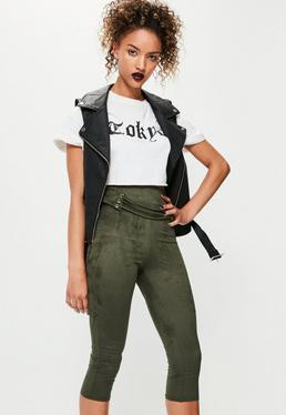 Khaki Faux Suede Corset Detail Crop Leggings