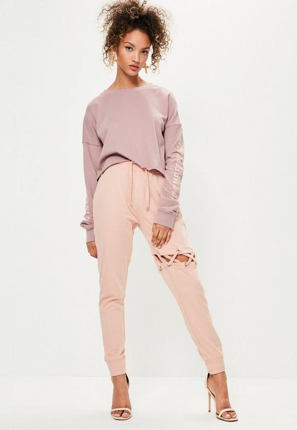 8f6296796a Pink Criss-Cross Lace Up Detail Joggers