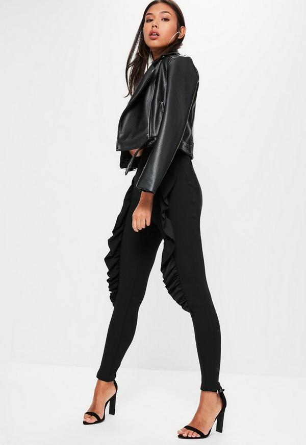 Black Skinny Fit Frill Cigarette Trousers