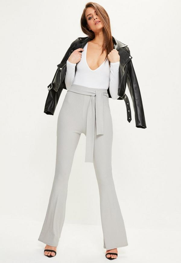 Grey Ribbed Slinky Wide Leg Trousers