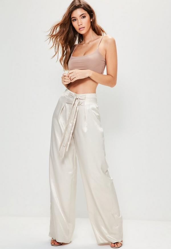 Nude Hammered Satin Double Tie Front Wide Leg Trousers