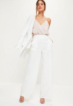 White Crepe Suit Wide Leg Trousers