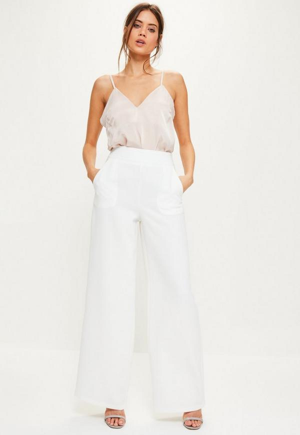 White Crepe Suit Wide Leg Pants - Missguided