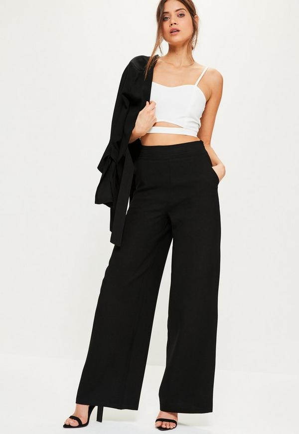 Black Crepe Suit Wide Leg Trousers