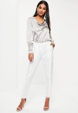 White Front Frill Cigarette Pants