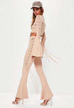 Nude Eyelet Lace Up Side Ribbed Flared Pants