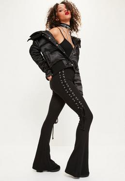 Black Eyelet Lace Up Side Ribbed Flared Pants