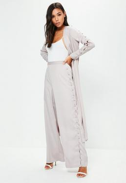 Premium Grey Side Button Wide Leg Trousers