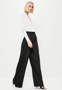 Premium Black Side Button Wide Leg Trousers