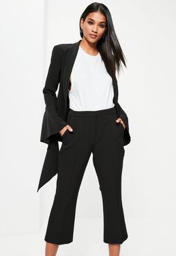 Black Crepe Cropped Kick Flare Trousers