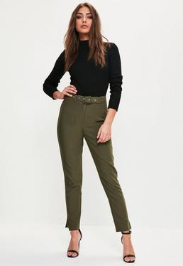 Spodnie cygaretki z wysokim stanem i ozdobnym paskiem w kolorze khaki