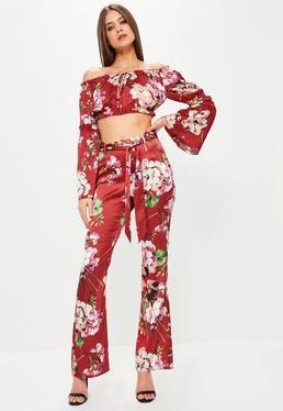 Red Satin Floral Print Wide Leg Pants