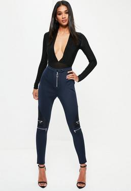 Navy Scuba Quilted Knee Detail Leggings