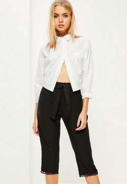Black Trim Hem Detail Culottes