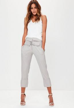 Grey Fold Over Waist Cropped Cigarette Trousers