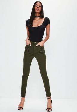 Khaki Double Zip Detail Ponte Leggings