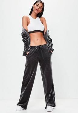 Szare spodnie dresowe z weluru Londunn + Missguided