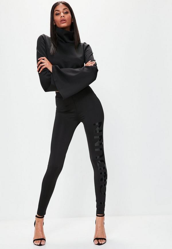 Londunn + Missguided Black Logo Full Length Leggings