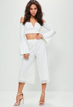 Białe koronkowe spodnie Culottes Premium