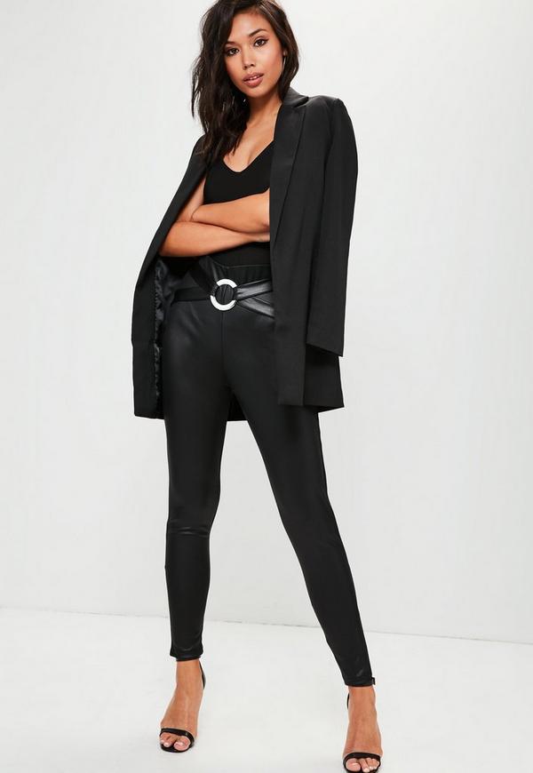 Black Circle Harness Cross Waist Trousers