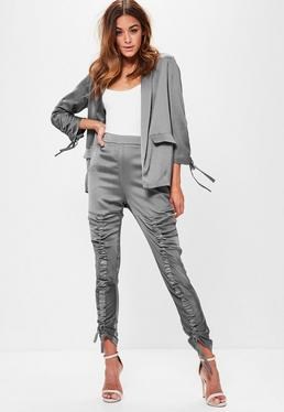 Grey Ruched Front Satin Cigarette Trousers