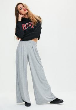Grey Pleated Front Wide Leg Trousers