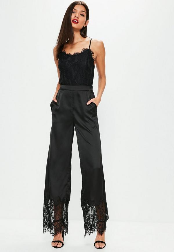 Black Lace Hem Satin Wide Leg Trousers