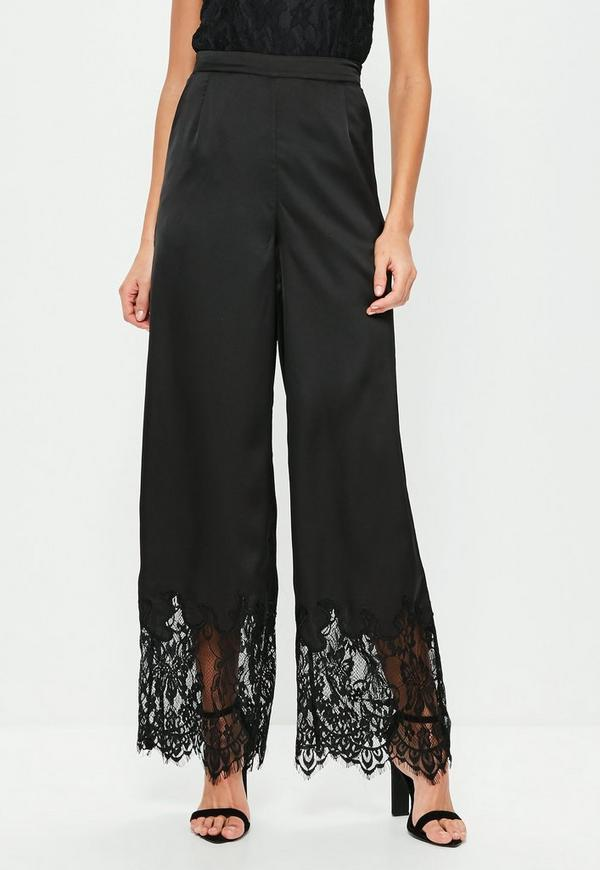 Black Lace Hem Satin Wide Leg Trousers Missguided