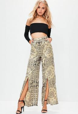 Gold Paisley Split Front Wide Leg Pants