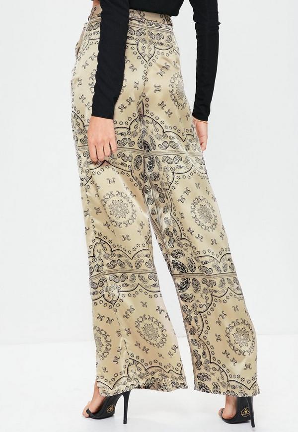 Gold Paisley Split Front Wide Leg Pants | Missguided
