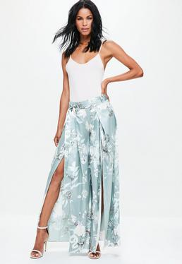 Grey Satin Floral Print Split Front Wide Leg Trousers