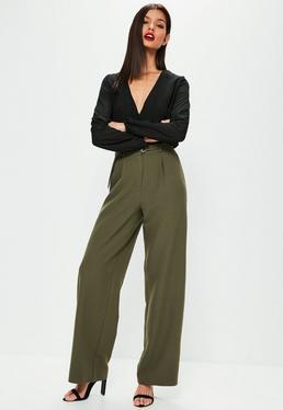 Khaki Square Ring Belted Wide Leg Pants