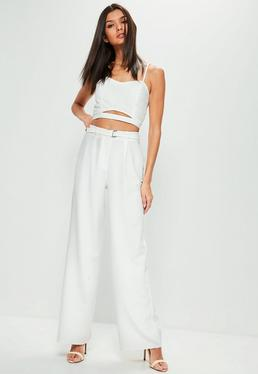White Square Ring Belted Wide Leg Trousers