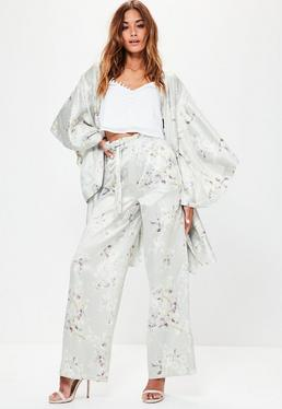 Grey Watercolour Floral Print Wide Leg Trousers