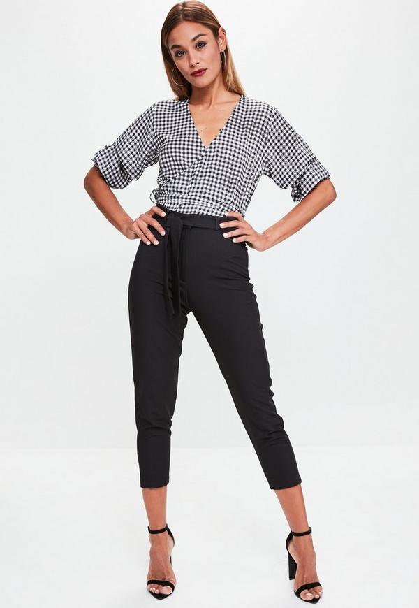 Black Crepe Tie Waist Tapered Cropped Trousers