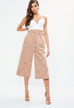 Pink Floral Outline Printed Cotton Culottes