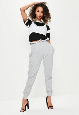 Szare spodnie dresowe z ozdobnymi brzegami