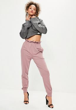 Pink Paperbag Waist Cuffed Joggers