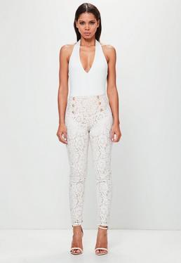 Peace + Love Pantalón ajustado de encaje en blanco
