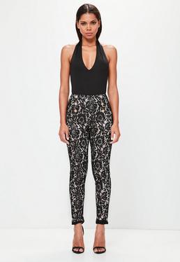 Peace + Love Czarne koronkowe spodnie z szerokimi nogawkami