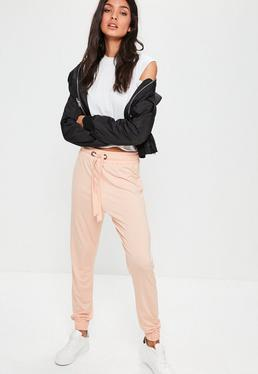 Różowe spodnie dresowe z dżerseju