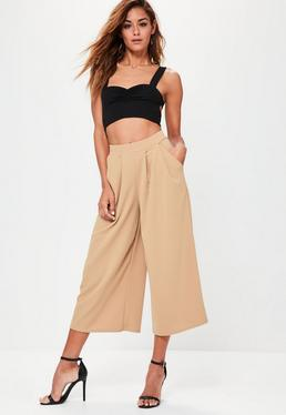 Tan Stretch Crepe Pleat Detail Wide Leg Culottes