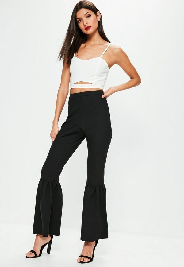 Black Knee Flare Tapered Trousers