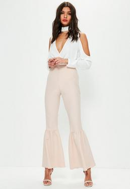 Nude Knee Flare Tapered Pants