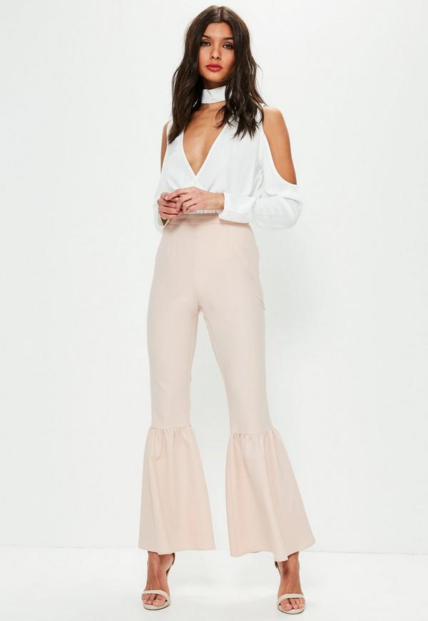 Nude Knee Flare Tapered Trousers